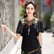 Women's Going out / Casual/Daily Cute / Street chic Summer / Fall T-shirt,Embroidered V Neck Short Sleeve