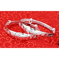 צמידים צמידים כסף סטרלינג Round Shape מקסים יומי תכשיטים מתנות כסף,1 זוג