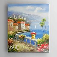 Pintados à mão Paisagem / Fantasia / Paisagens Abstratas Pinturas a óleo,Modern / Mediterrêneo / Pastoril / Estilo Europeu 1 Painel Tela