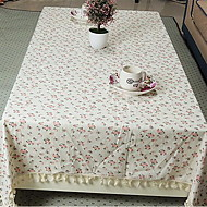 New Rural Small Floral Linen Tablecloth Multi-Purpose Cover Towel for Side Table (140 * 140cm)