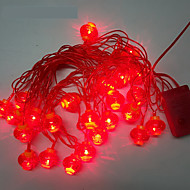 10m 24LED luzes da corda lanterna vermelha
