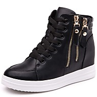 Women's Sneakers Spring / Summer/Fall/Winter Comfort Synthetic Athletic / Casual Platform Zipper Black/White Sneaker