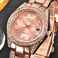 아가씨들 드레스 시계 패션 시계 손목 시계 모조 다이아몬드 시계 달력 모조 다이아몬드 석영 스테인레스 스틸 밴드 참 실버 골드