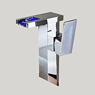 Contemporary Vessel LED / Waterfall with  Ceramic Valve Single Handle One Hole for  Chrome , Bathroom Sink Faucet