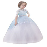 Ball Gown Floor-length Flower Girl Dress - Tulle Half Sleeve Jewel with Appliques / Beading / Crystal Detailing