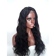 evawigs 10-28 palců indická virgin lidský vlas tělo vlna 1 # Jet Black barevných 130% hustoty plné krajky paruky s baby vlasy