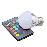 3W E14 / GU10 / E26/E27 Lâmpada Redonda LED A50 1 LED de Alta Potência 200 lm RGB Regulável / Controle Remoto / Decorativa AC 85-265 V1