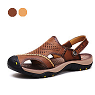 Men's Shoes Outdoor / Athletic / Casual Nappa Leather Sandals Brown / Khaki