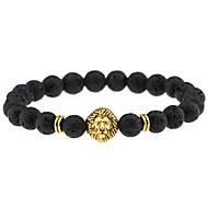 Men Women Jewelry Gold/Silver Plated Lion Head Buddha Charm Bracelet Black Lava Stone Bracelets