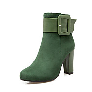 Støvler-Kunstlæder-Modestøvler-Damer-Sort Rød Grøn Mandel-Udendørs Kontor Fritid-Tyk hæl Blokhæl