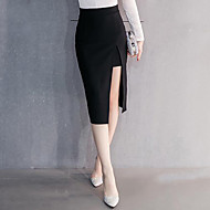 Women's Solid Red / Black Skirts,Street chic Knee-length