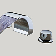 Contemporary Widespread LED / Waterfall with  Ceramic Valve Two Handles Three Holes for  Chrome , Bathroom Sink Faucet