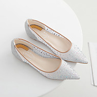 Women's Flats Spring / Summer / Fall Flats Fabric Casual Flat Heel Crystal Silver / Nude Others