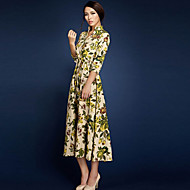 BORME® Damen V-Ausschnitt 3/4 Ärmel Maxi Kleid-LYQ003CR