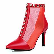 Zapatos de mujer-Tacón Stiletto-Botines / Punta Redonda / Botas a la Moda-Botas-Vestido / Casual / Fiesta y Noche-Tul / Semicuero-Negro /