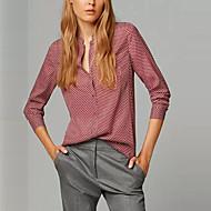 Vrouwen Vintage Alle seizoenen Overhemd,Casual/Dagelijks Print Opstaand Lange mouw Rood Polyester Medium