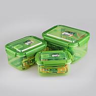 3 יח 'מיכלי מזון פלסטיק מלבני להגדיר קופסאות פלסטיק