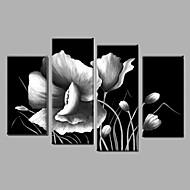 Ručně malované Abstraktní / Krajina / Zátiší / Květinový/Botanický motiv olejomalby,Pastýřský / Moderní Čtyři panely PlátnoHang-malované