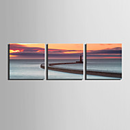 E-HOME® Stretched Canvas Art Coastline Scenery Decoration Painting  Set of 3