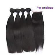 Brazilian Virgin Hair with Closure 4 Bundles with 4*4 Closure Human Hair with Closure 7A Brazilian Virgin Hair Straight