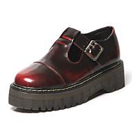 Feminino-Oxfords-Creepers / Arrendondado-Plataforma-Preto / Vinho-Napa Leather-Casual