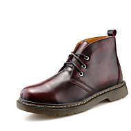 Men's Boots Fashion Boots / Bootie Leather Casual Flat Heel Lace-up Yellow / Gray / Burgundy Others