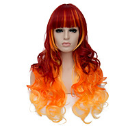 European Vogue Long Sythetic Ombre Orange Curly Neat Bang Party Wig For Women