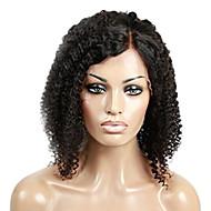 100% פאת אדם בתול ברזילאי מעובד שיער בצבע שחור פאת חזית תחרה מתולתלת קינקי פלומת שיער