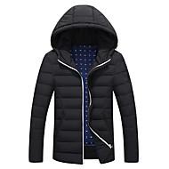 Egyszínű Férfi Kabát Pehely Hosszú ujjú,Átlagos,Poliészter / Nejlon