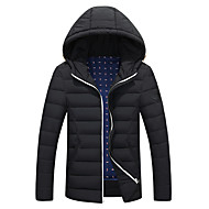 Langærmet Ensfarvet Mænds Normal Dynejakke Frakke Polyester / Nylon