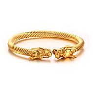 בגדי ריקוד גברים צמידי חפתים פלדת על חלד ציפוי זהב אופנתי סטייל פאנק היפ-הופ Circle Shape Animal Shape כסף מוזהב תכשיטים 1pc