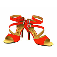 Chaussures de danse(Noir / Bleu / Jaune / Rose / Violet / Rouge / Blanc) -Personnalisables-Talon Personnalisé-Satin-Latine / Salsa