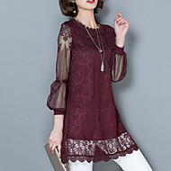Bomull / Polyester Rød / Hvit / Sort Tynn Langermet,Asymmetrisk Bluse Ensfarget Vår Vintage / Gatemote Fritid/hverdag Kvinner