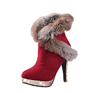 Women's Imitated Suede Solid Pull On Round Closed Toe Spikes Stilettos Boots