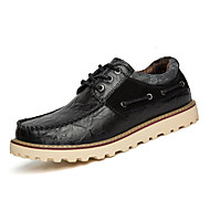 Men's Flats Winter Fashion Boots / Comfort / Round Toe Cowhide Casual Flat Heel Lace-up Black / Blue / Brown