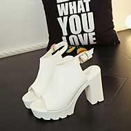 Women's Heels Summer Ankle Strap Leatherette Casual Chunky Heel Others Black / White Others