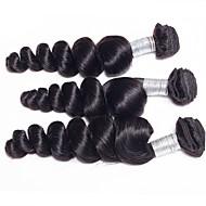 3pcs / lot 300g 20-24inch brazylijskie dziewicze włosy luźne fala naturalne czarne nieprzetworzone ludzkie włosy splot