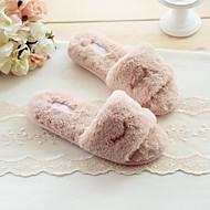 Feminino-Chinelos e flip-flops-Conforto-Rasteiro-Rosa / Cinza-Algodão-Casual