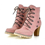 Women's Boots Spring Fall Winter PU Outdoor Chunky Heel Rivet Lace-up Blue Yellow Pink Other