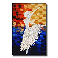 Ręcznie malowane Streszczenie / Ludzie / Kaprys / Kwiatowy/Roślinny Obrazy olejne,Nowoczesny / Fason europejski Jeden panel Płótno