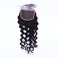 18Inch Hand Tied Deep Wave Lace Closure Unprocessed Hair Remy Human Hair 4*4Swiss Lace