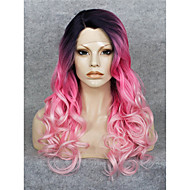 IMSTYLE High Quality Popular Pink Ombre Dark Root Wave Synthetic Lace Front Wigs