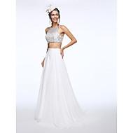 Lanting Bride® A-line Wedding Dress Sweep / Brush Train Bateau Chiffon with Beading / Sequin