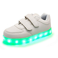 Girl's LED'S Shoes Sneakers Comfort / Flats Party / Athletic / Casual Flat Heel Magic Tape / LED Black / White