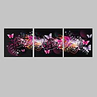 e-Home® uitgerekt geleid canvas kunst de vlinder flash effect LED set van 3