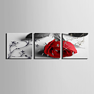 MINI SIZE E-HOME A Red Rose Clock in Canvas 3pcs
