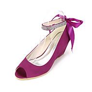Feminino-Saltos-Anabela / Peep Toe-Anabela-Preto / Azul / Rosa / Roxo / Vermelho / Marfim / Branco / Prateado / Dourado / Champagne-Seda-