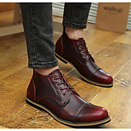 Men's Flats Spring / Summer Mary Jane Cowhide Casual Chunky Heel Others Brown / Red Walking