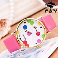 Reloj Mujer Lichee PU Band  Gold Watchcase  Inlaid Colorful Dot Dial Women Quartz geneva WatchChain Wristwatch