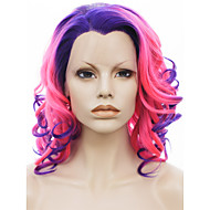 imstyle 16pink-blauwe ombre krullend synthetische lace front pruiken